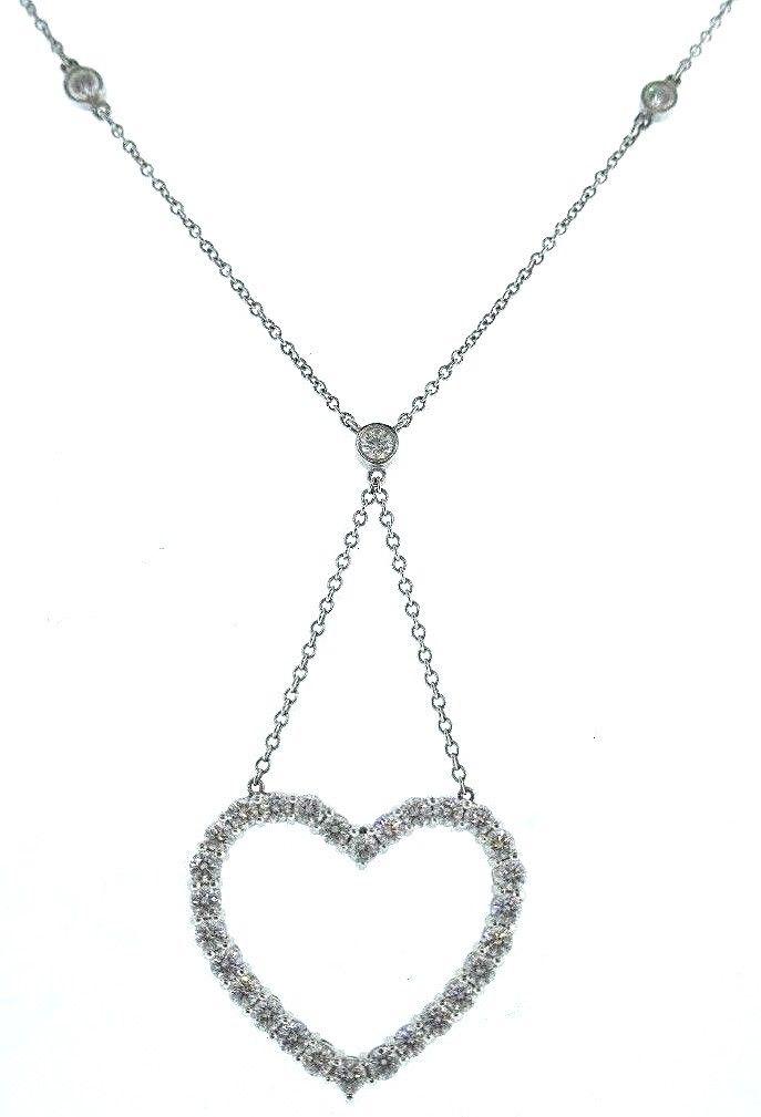 7ba49bc52ebf7 Tiffany and Co Diamond Heart Pendant Platinum Necklace – Nadine ...